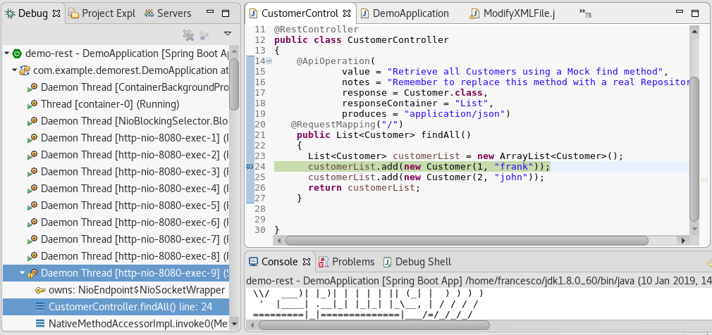 Debugging spring boot with eclipse